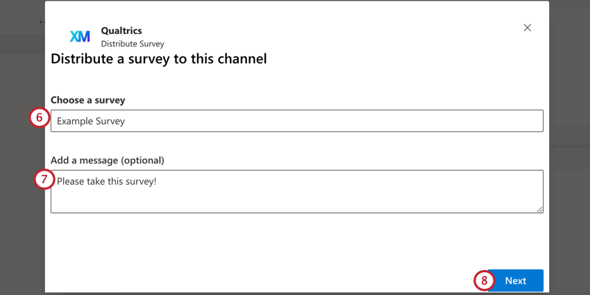 choosing a survey to send and adding a message