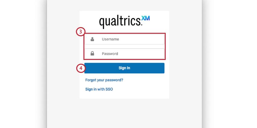 the qualtrics login screen