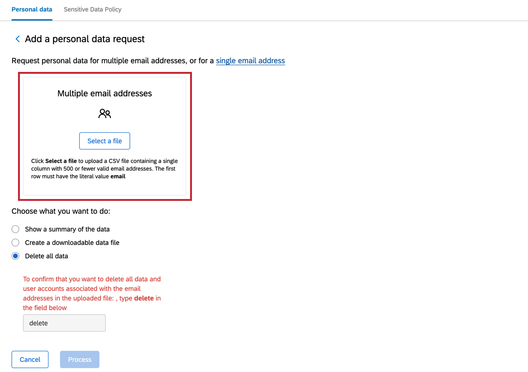 Now that multiple email addresses is selected, new button for uploading a file