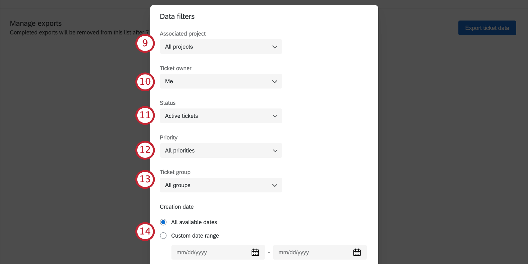 Fields listed in steps. At bottom, the date fields have calendar selection options