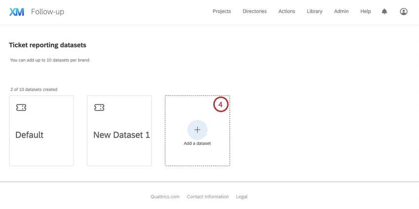 """Big tile-style button that has a plus sign in the middle and says """"Add a dataset"""""""