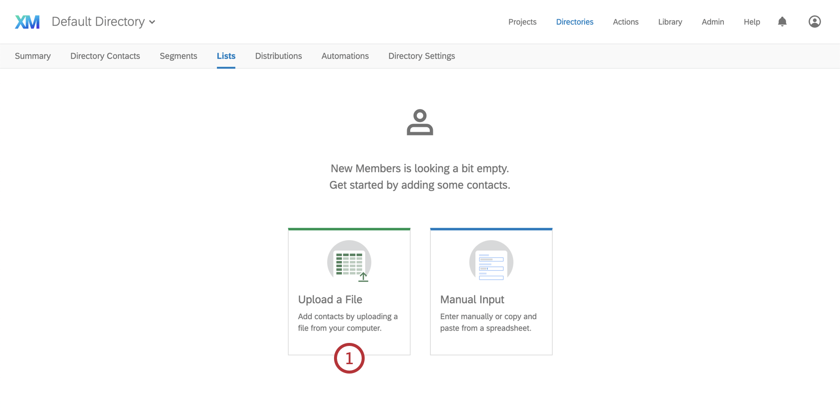 Upload a file button in the center of the page