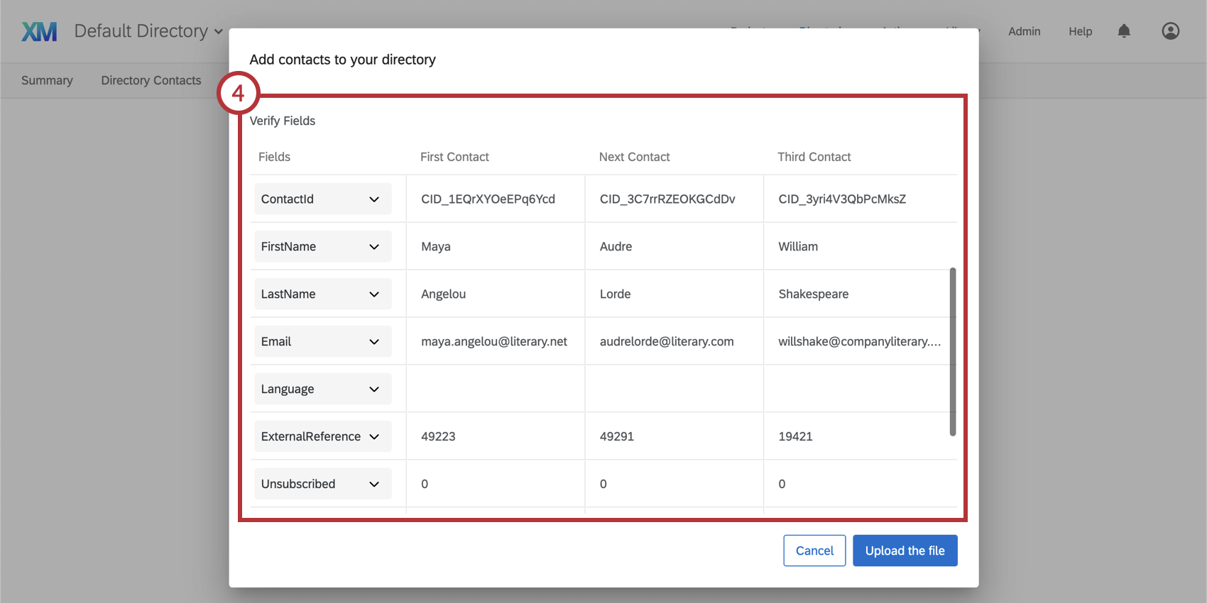Verify fields section in the add contacts window