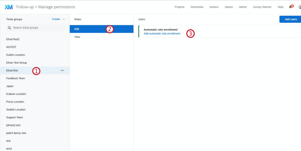 Shows the layout of the manage permissions page