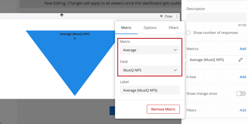 selecting the type of metric and field to display