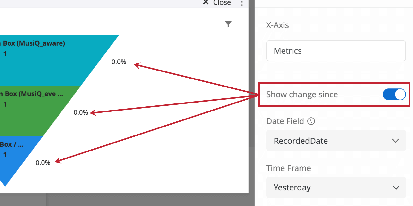the show change since option on a funnel widget