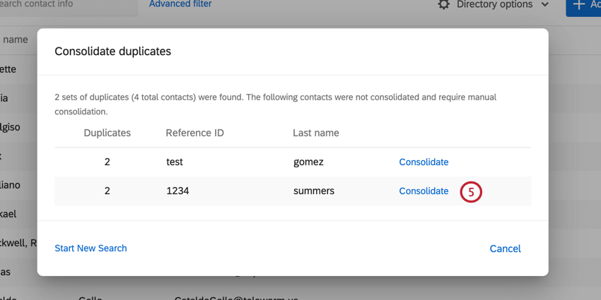 clicking consolidate next to an identified duplicate contact