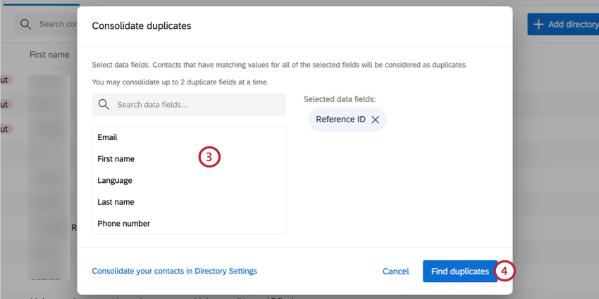 selecting contact fields to deduplicate by