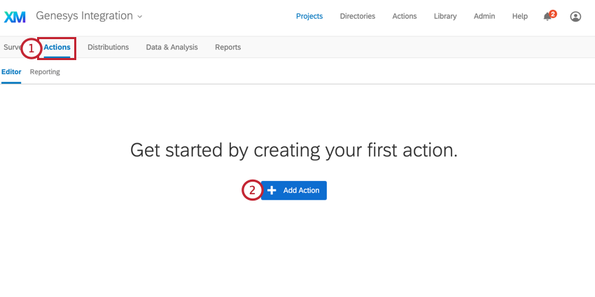 adding an action in qualtrics by clicking add action in the actions tab
