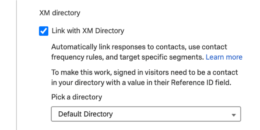 the link with xm directory option in intercept options