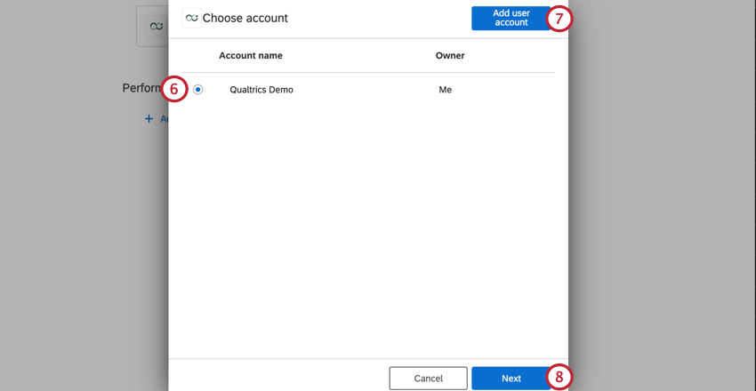 selecting an account, or clicking add user account to add a new one