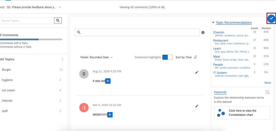 Text iQ interface highlighting the blue check button