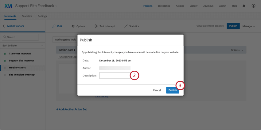 Publish window with a field for Description in the middle and a blue Publish button on the lower-right