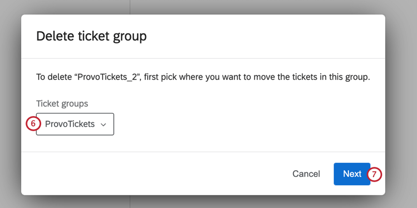 selecting a ticket group to move the tickets to