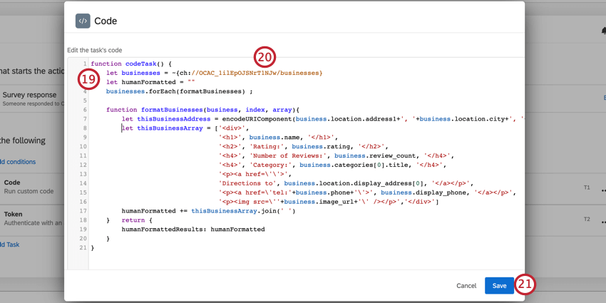 a code task, transforming the json from the webservice into html