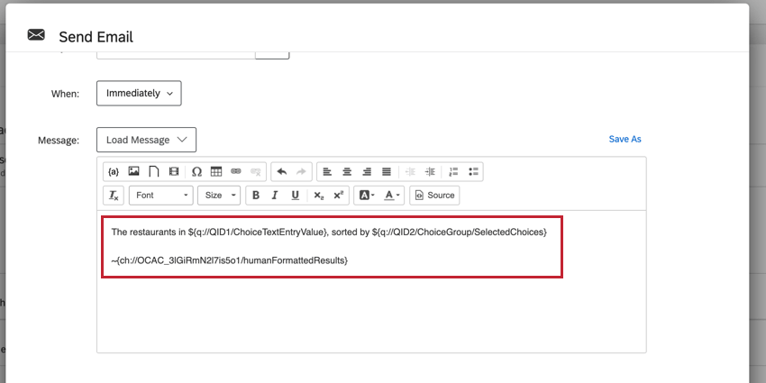 the email editor with the piped text for displaying the results of the action