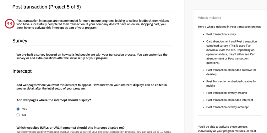 Description of the post transaction project. No survey settings to fill out
