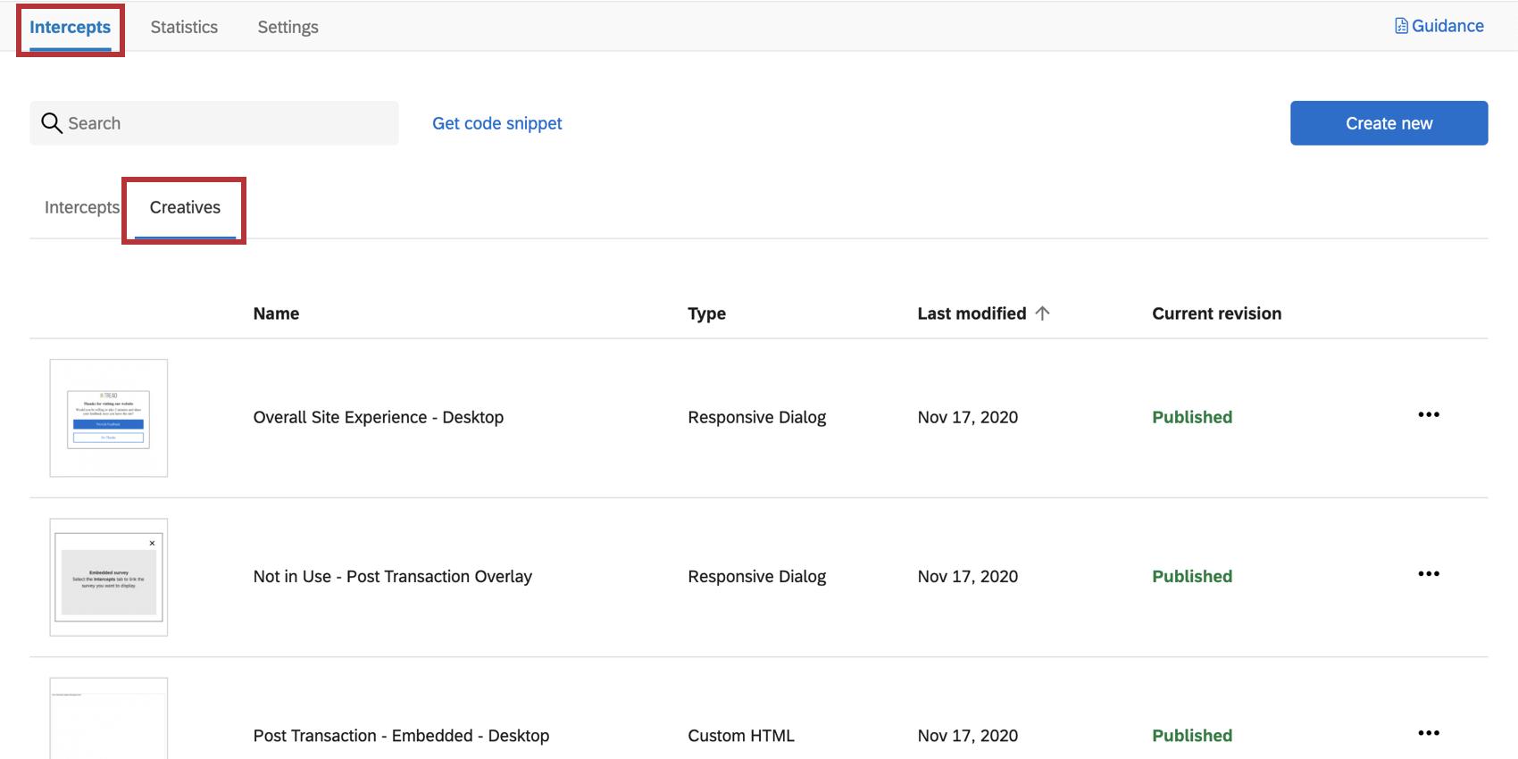 Intercepts tab, creatives section