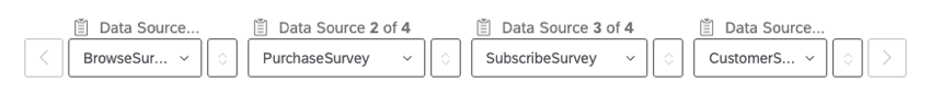 The Browse, Purchase, Subscribe, and CustomerService Surveys are chosen as the sources in this example