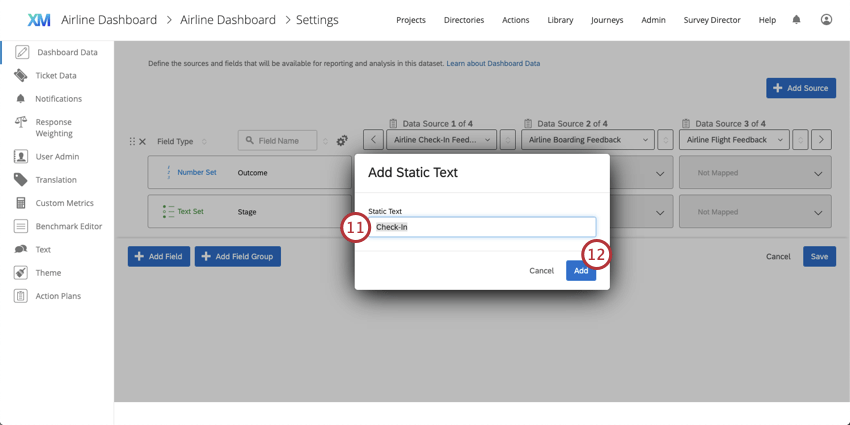 Adding the Check-In Stage name as static text