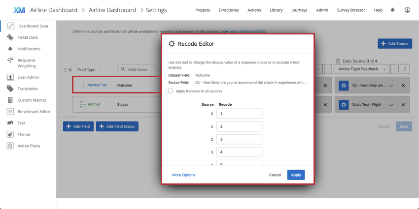 Recode Editor showing that you can configure data with recoded fields
