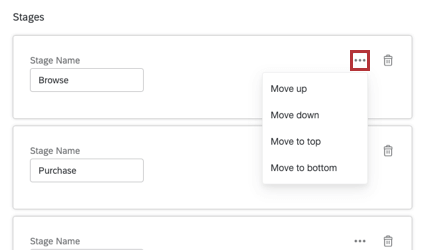 Three dots on the right side of the stage open a dropdown menu with move options