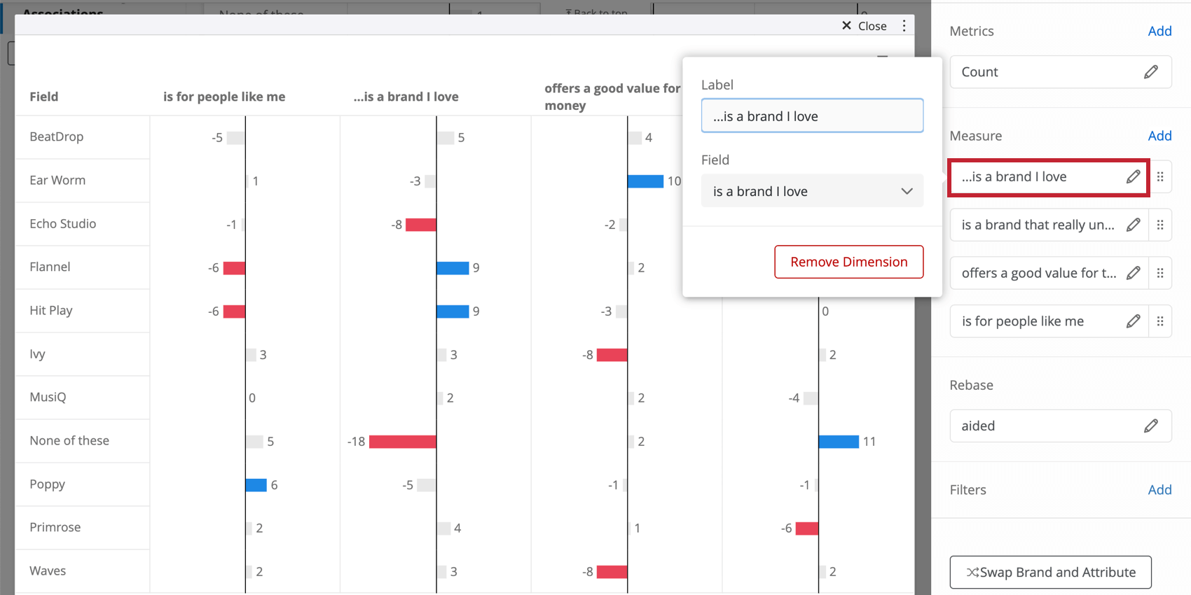 Clicking an imagery field opens a menu where you can adjust the label