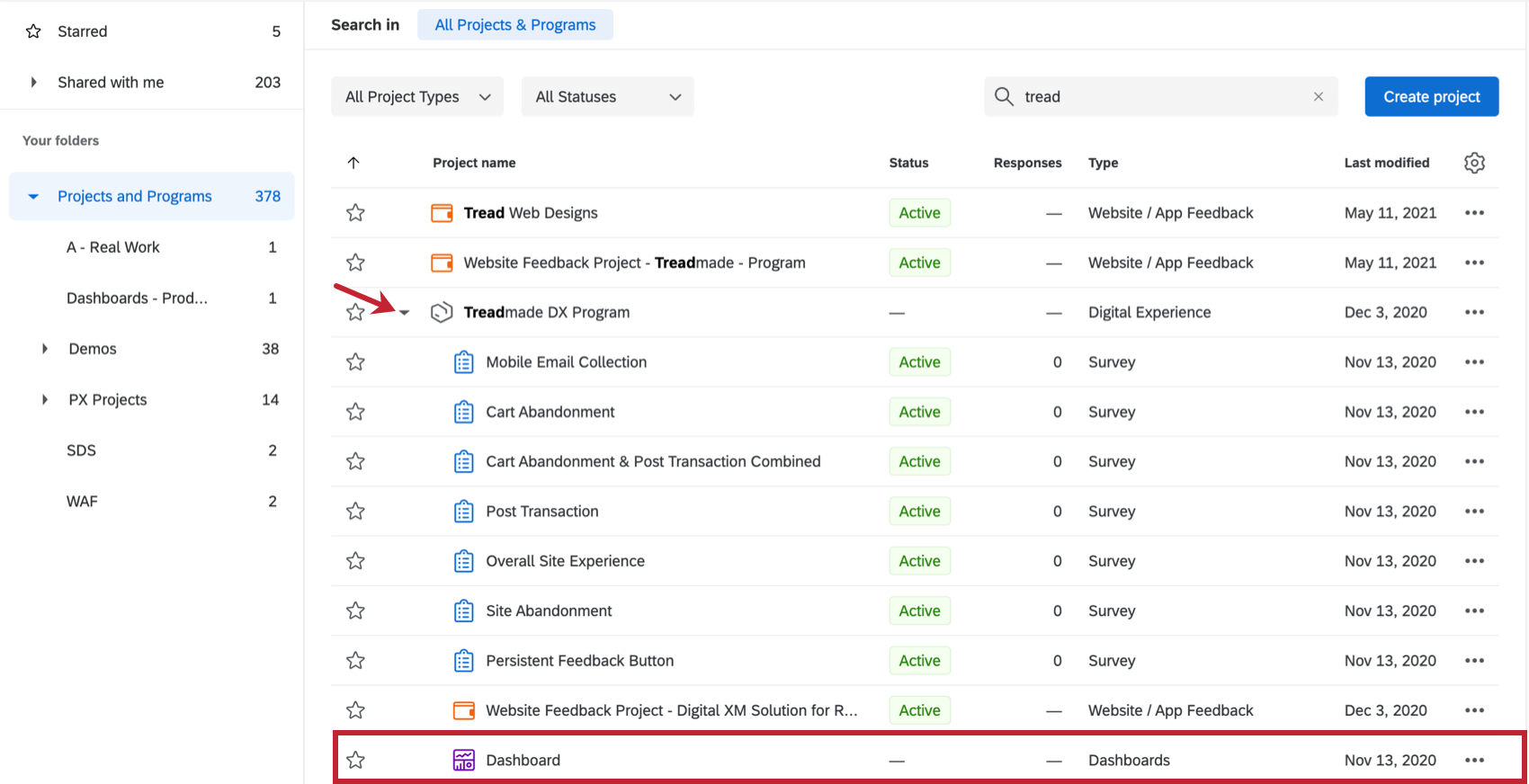 Image of program located on a projects page, expanded to show a bunch of surveys, dashboards, and website / app feedback projects indented underneath it