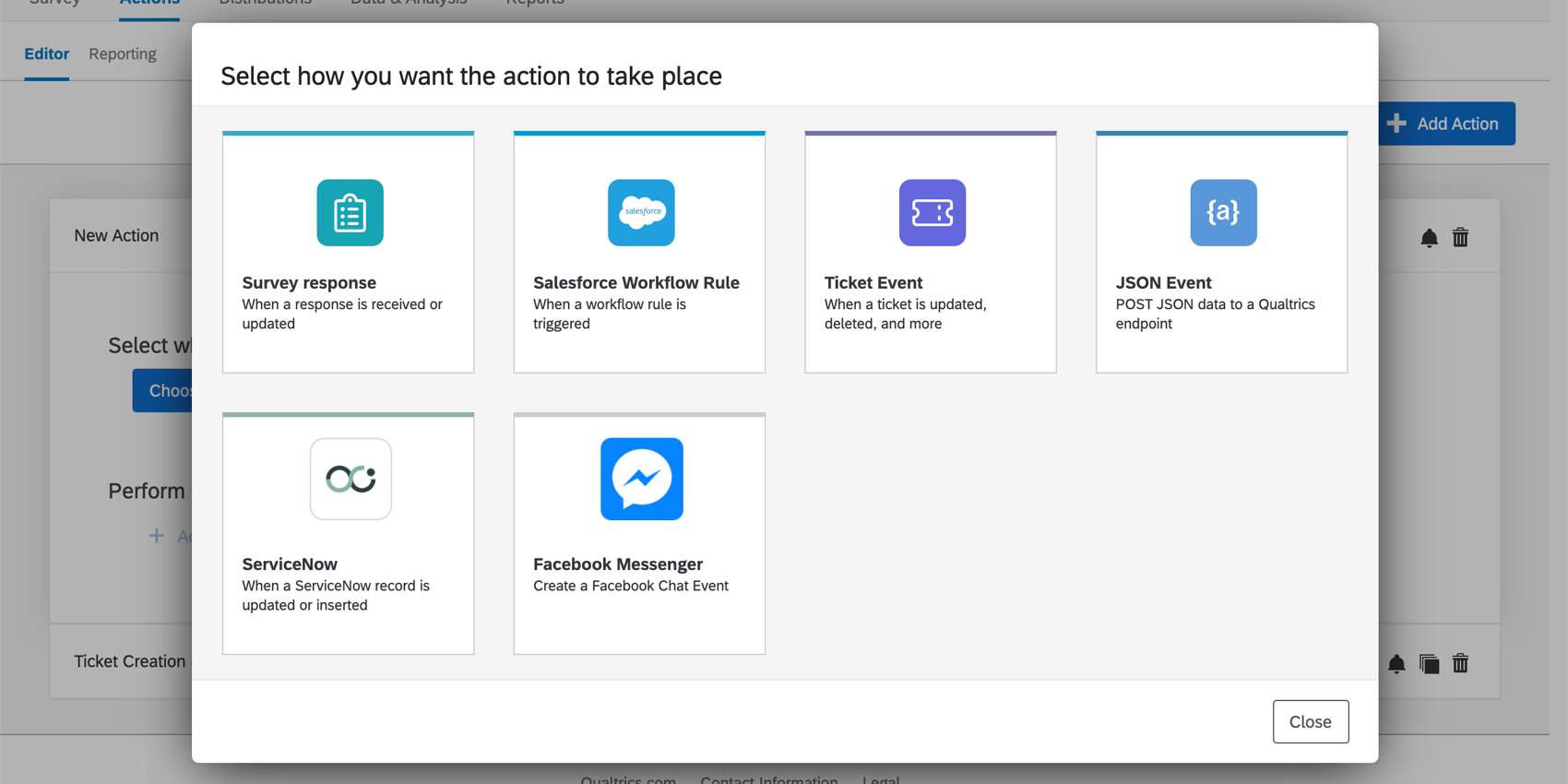 "Window named ""Select how you want the action to take place."" Then a list of tiles with such events as survey response, salesforce workflow rule, and so on."