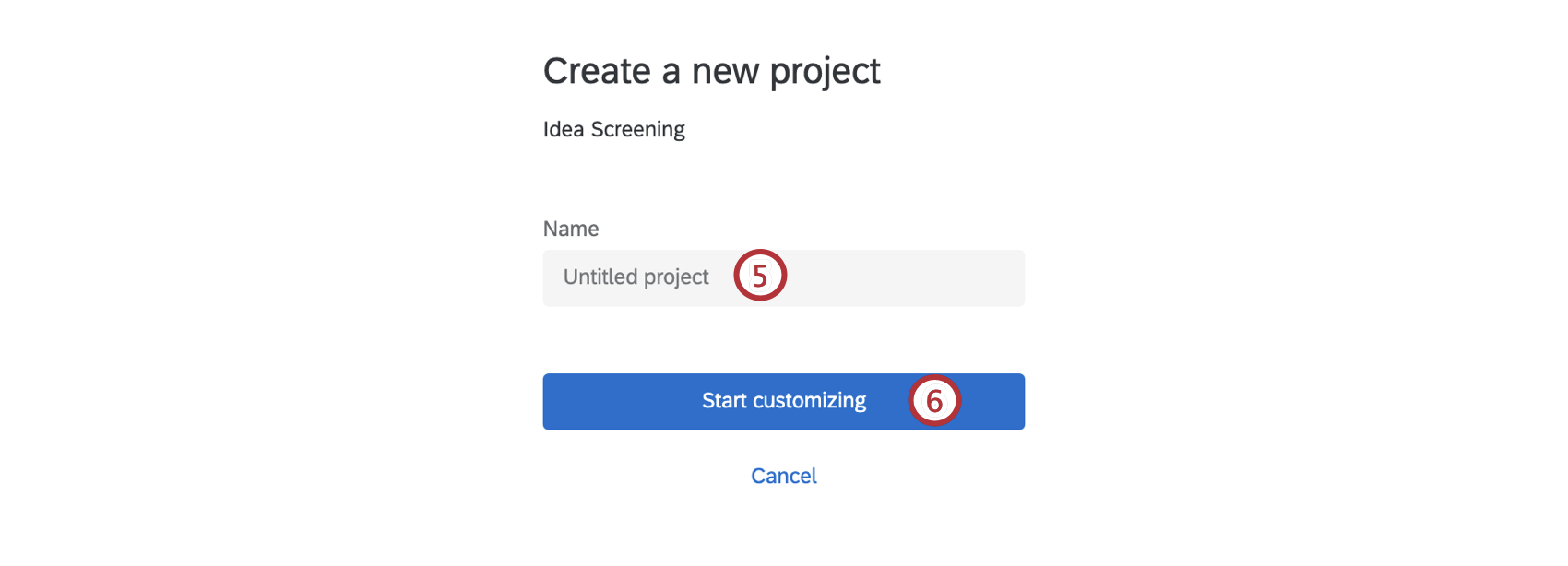 Field for name, then button at bottom