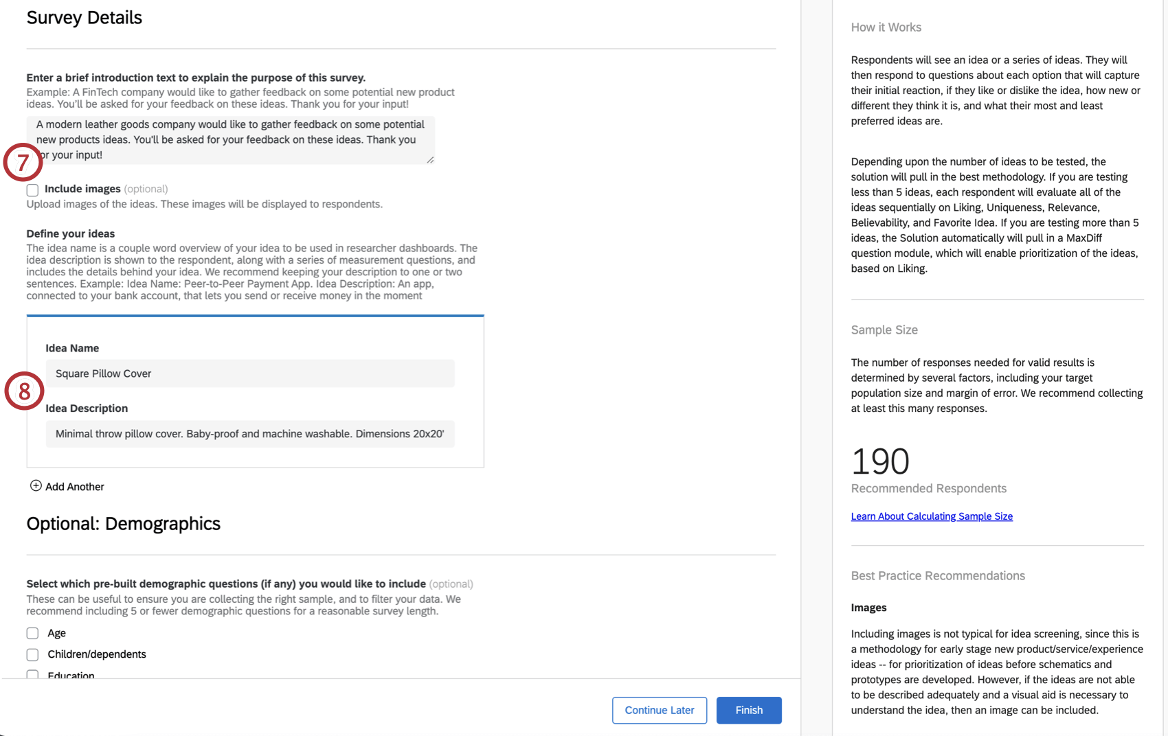 Guided setup for adding an introduction for your participants and adding product ideas
