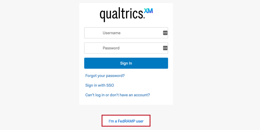 the I'm a fedramp user button at the bottom of the support portal