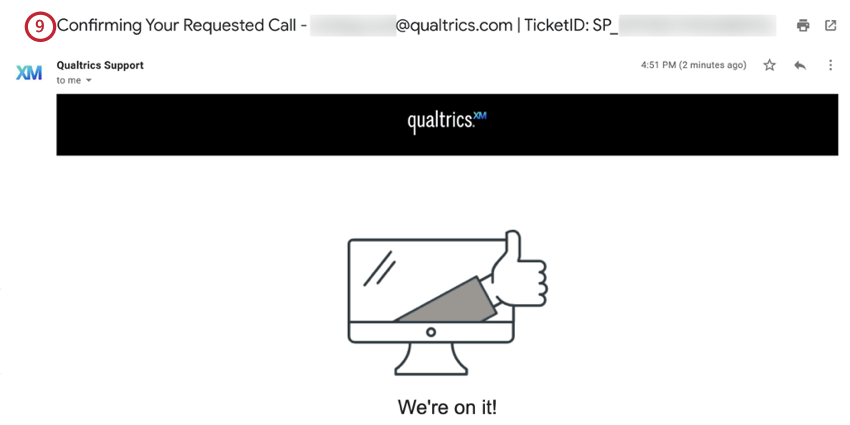 the confirmation email after submitting a phone ticket
