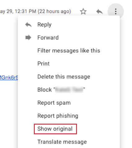 Show original option in email system to show custom email headers