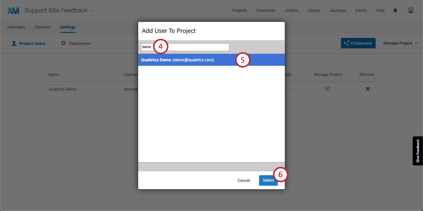 Add User to Project window with a field where a user is searched, a user selected in blue below, and a Select button on the bottom-right