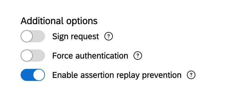 Weitere Optionen, Umschalter für Signaturanforderung, Authentifizierung erzwingen und Assertion-Replay-Verhinderung aktivieren