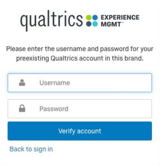 """Normaler Anmeldebildschirm mit dem Text """"Bitte geben Sie den Benutzernamen und das Passwort für Ihr bereits bestehendes Qualtrics-Benutzerkonto in dieser Instanz an"""" oben"""