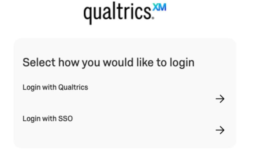 Auswählen der Anmeldungsart: Anmelden mit Qualtrics oder Anmelden mit SSO