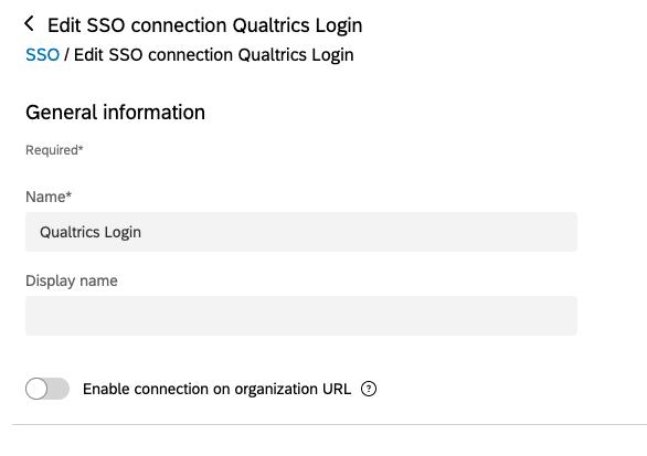 Bearbeitungsseite für die Qualtrics SSO-Verbindung. Option unten mit Anzeigename