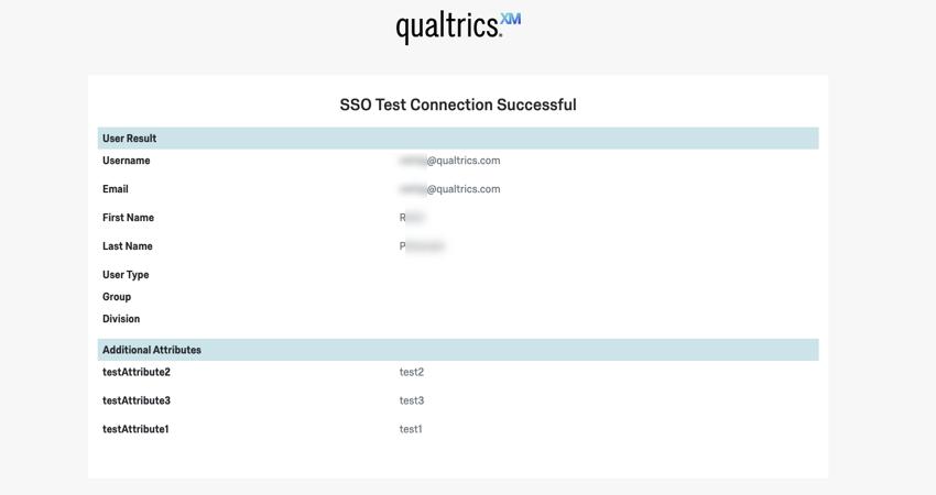 """Seite mit der Meldung """"SSO-Test erfolgreich"""" und einer Liste aller abgerufenen Felder"""