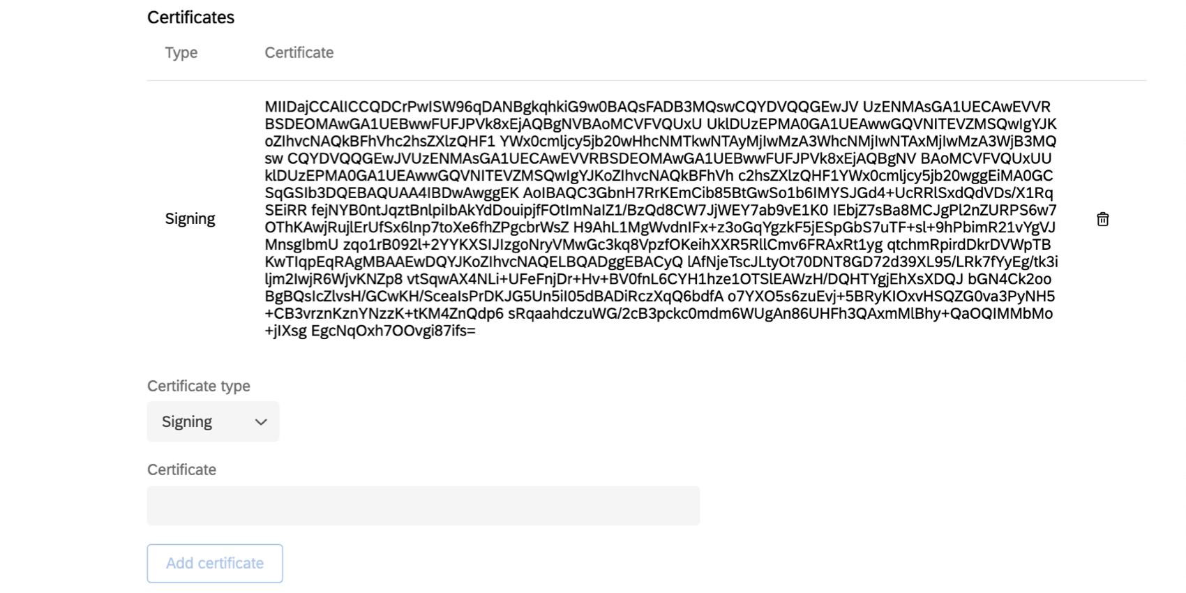 Teilbereich Zertifikate – Signatur wird als Textblock mit zufälligen Buchstaben und Ziffern angezeigt