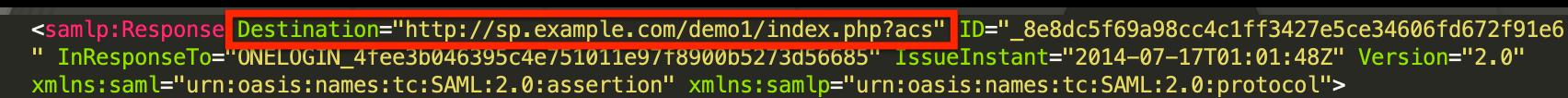 """Destination"" in a SAML response"