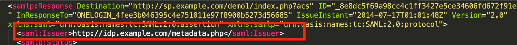 """Issuer"" in a SAML response"