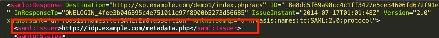 """Issuer"" in a SAML response"