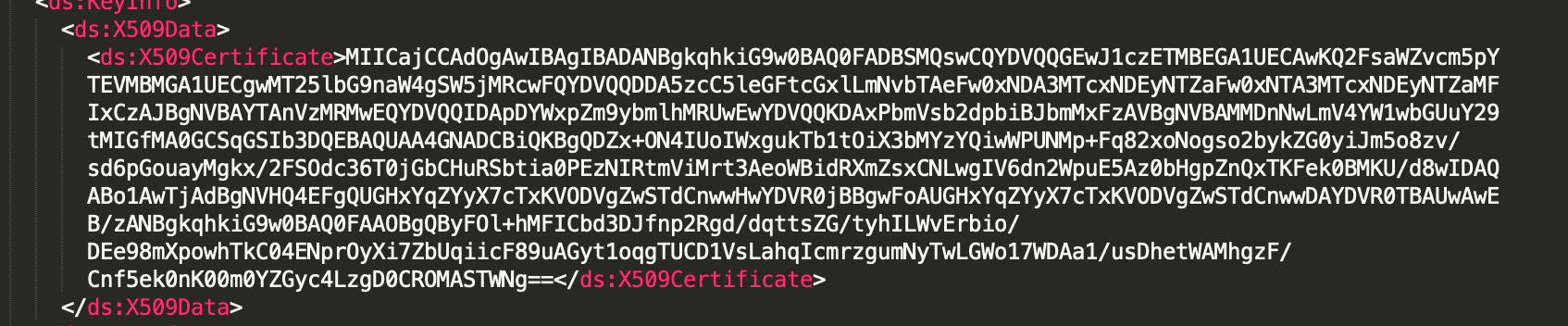 """""""X509Certificate"""" in a SAML response"""