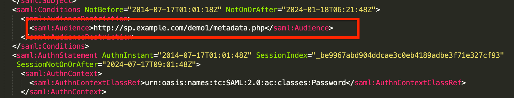 """Audience"" in a SAML response"