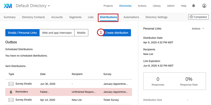 the distributions tab in xm directory. the create distribution button is selected