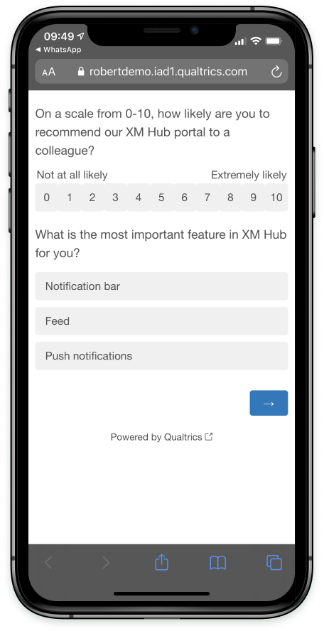A survey in a mobile browser