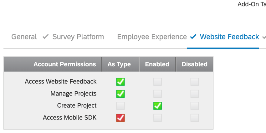Close up of the Users page under Admin settings for Website/App Feedback settings