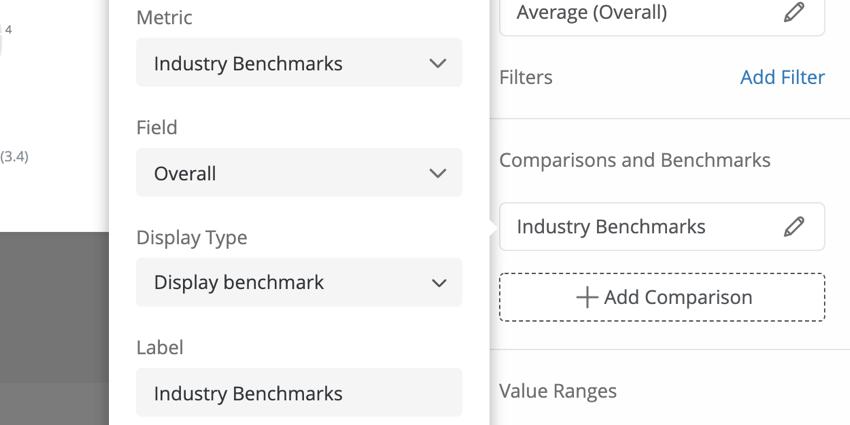 Auswählen der Metrik, des Felds, des Anzeigetyps und des Labels für eine Benchmark